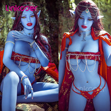 Linkooer-Muñeca sexual realista para hombres adultos, juguete de silicona de 158cm con diseño de elfo azul, ano, vagina y Oral