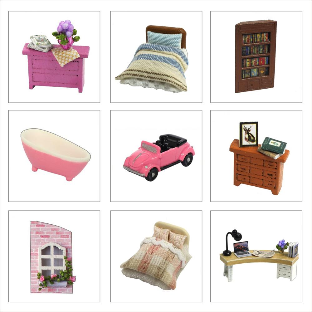 DIY Dollhouse Rotate Music Box Miniature Assemble Kits Doll House With Furnitures Wooden House Toys for Children Birthday Gift 5
