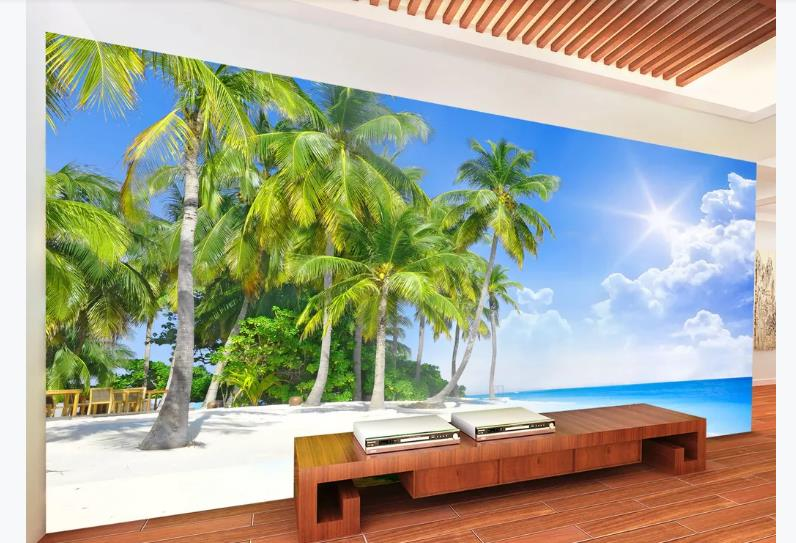 Custom HD Photo Wallpaper Seascape Coconut Tree Wallpapers For Wall 3D Living Room Bedroom Wall Covering Murals