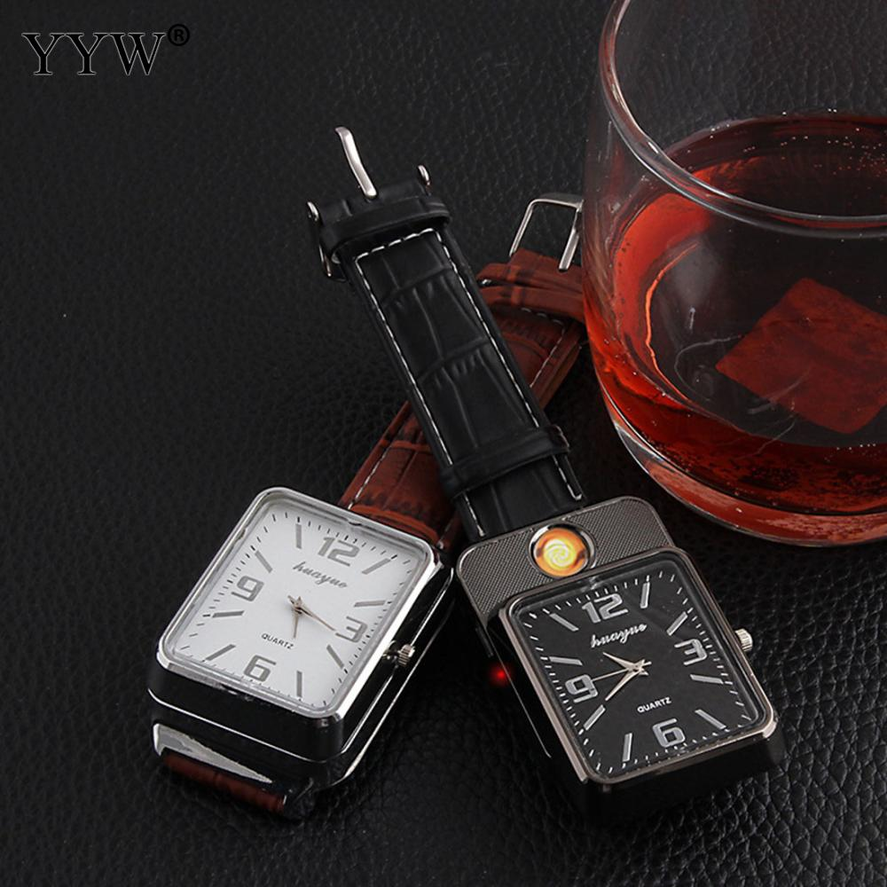 Charging Cigarette Lighter Watch For Man Woman Usb Lighter Pu Leather Strap Encendedor Lighters Esqueiro Cakmak Electronicos