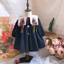 Bebé niña otoño Primavera Verano manga larga Navyblue globo bordado Vintage vestido de princesa para niñas vestido de algodón de Inglaterra