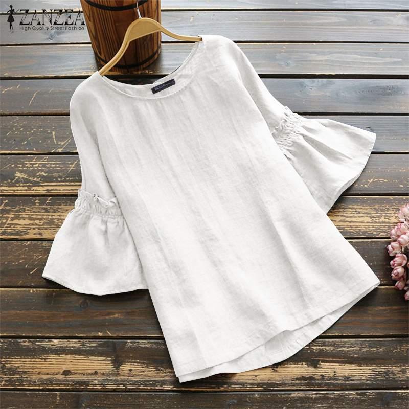 2019 Elegant Ruffle Sleeve Tops Women's Summer Blouse ZANZEA Vintage Casual Linen Tunic Female O Neck Blusas Mujer Shirts S-5XL