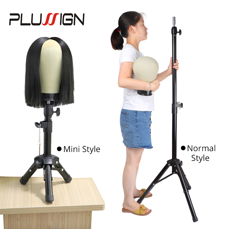 Plussign Mannequin Head Wig Stand Black Strong Wig Tripod  For Hairdressing Training Salon Tools