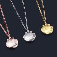 3 cores moda jóias concha praia sereia foto medalhão corrente charme colar para presente do dia dos namorados feminino