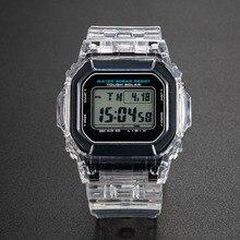 Şeffaf saat seti DW5600 GW M5610 kordonlu saat Bezel bilezik Metal toka ile