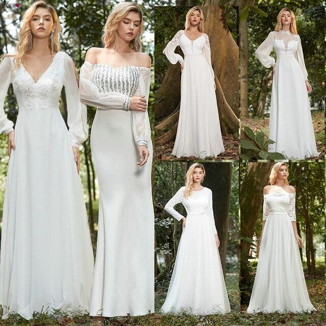 Simples vestido de casamento branco boho sempre muito elegante a linha com decote em v chiffon manga longa robe sexy vestido de noiva para ser 2021 4