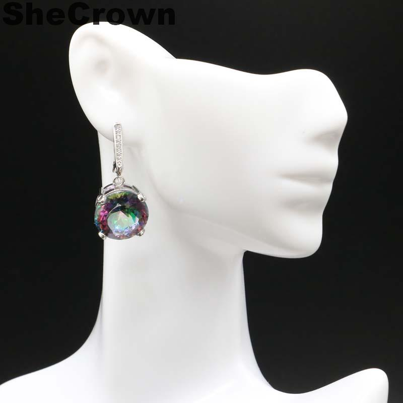 32x15mm Romantic <font><b>15x15mm</b></font> Round Shape 10g Fire Rainbow Mystic Topaz White CZ Woman's Party Silver Earrings image