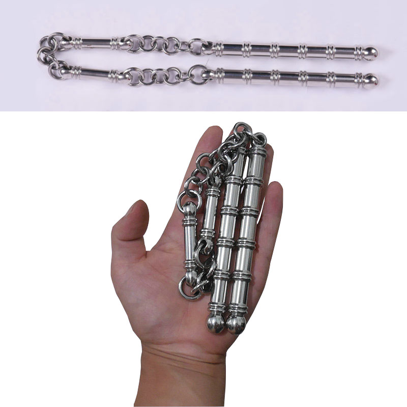 56cm Outdoors Pocket Solid Stainless Steel 3 Sections Staff Stick Cuff Combat Three Whip Carry Broken Windows Person Safety Mini