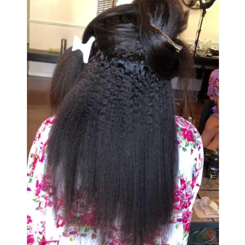 Mechones de cabello virgen brasileño de pelo lacio rizado, mechones de cabello humano de 100% Yaki, extensiones de productos para el cabello 3 Dolago