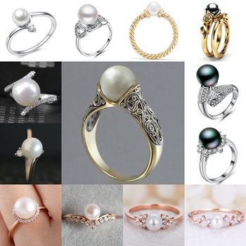 Huitan Romantic Simulated Pearl Rings For Women Luxury Wedding Anniversary Accessories Engagement Female Wholesale