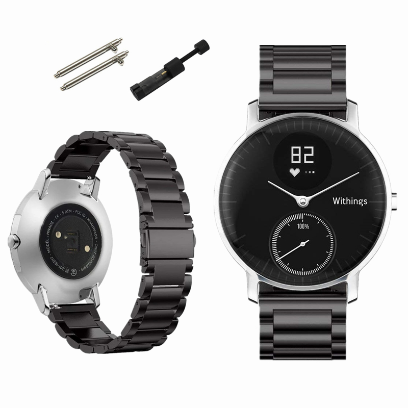 Shangpule Replacement Bands for Withings Steel HR Tracker Stainless Steel Metal Bracelet Strap for Withings Steel HR 40mm//36mm