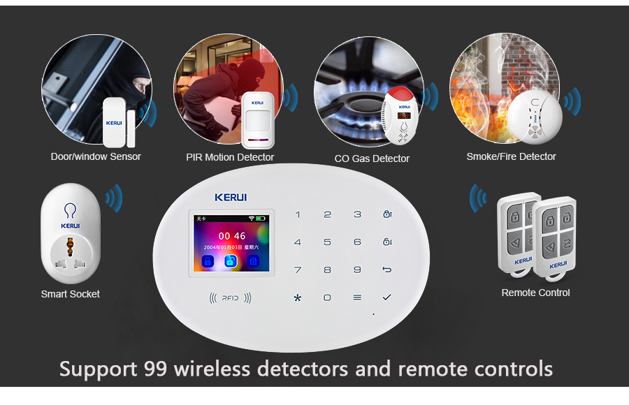 H37f08be300d4453ca020e2dc48e836faQ - Home Security Protection Alarm KERUI W20 And W18  2.4G WIFI Wireless Network APP Control Tamper Alarm System