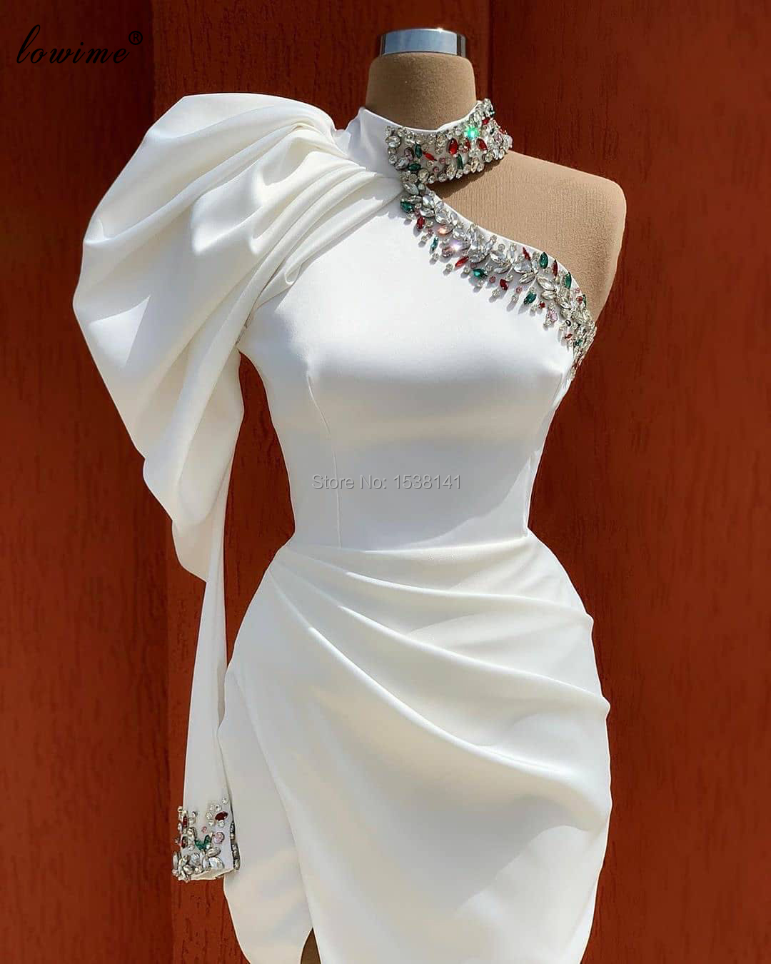Muslim White Evening Dresses 2020 One Shoulder Elegant Formal Evening Gowns Crystals Prom Dresses Women Party Night Robes Custom