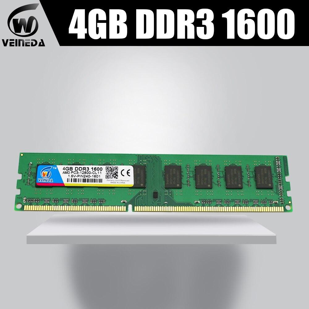 VEINEDA 4gb ddr3-1333MHZ Para Memória dimm ddr3 de memória Ram ddr3 1066 MHZ 1600 compatível com todos os Intel AMD Desktop PC3-10600 240pin