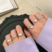 S925 Sterling Silver Rings for Women Fashion Love Heart Shape Retro Hip Fashion Ring Jewelry Accessories Wholesale
