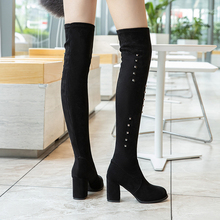 High Heels Sexy Boots Slip On Over The Knee Boots Women 2019 New Autumn Winter Boots Warm Suede Black Boots Bling Fashion Boots fashion leather boots over the knee boots ladies warm slip on sexy boots high heels boots women autumn winter women boots 2019
