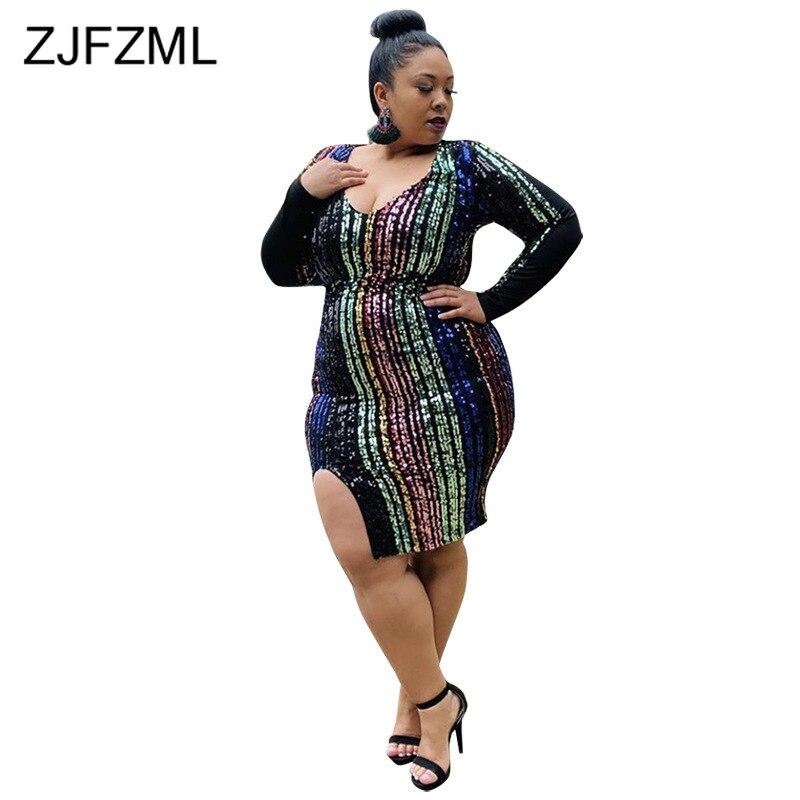 Боковое сексуальное платье с блестками, женское платье с v образным вырезом и высокой талией размера плюс, платье с длинным рукавом, элегант