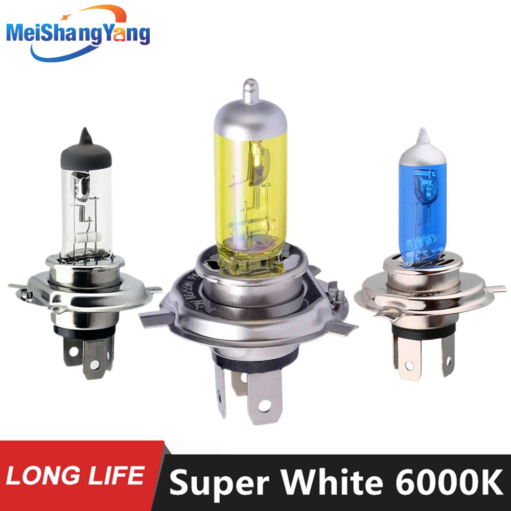 1PCS Super White Halogen Bulb H4 H7 12V 55W / 60W 3000K 4300K ​​6000K Quartz Glass Car Světlomety do auta