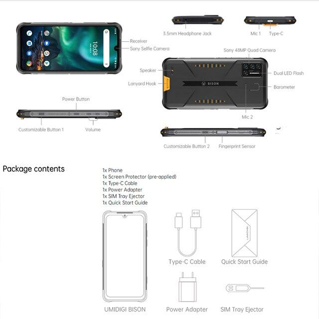 "Umidigi bison 6gb/8gb + 128gb nfc ip68/ip69k telefone áspero impermeável 48mp quad camera 6.3 ""fhd + display android 10 smartphones 6"