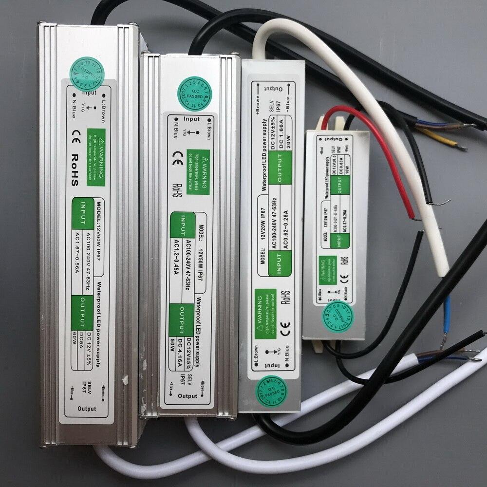 IP67 Водонепроницаемый Питание AC 110V 220V DC/DC 12V 24V светодиодный драйвер 20 Вт 30 Вт 50 Вт 100 Вт 200 Вт светодиодное освещение Трансформатор для светоди...