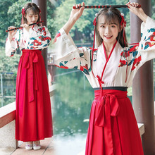 Women Traditional Hanfu Clothing Floral Print Oriental Folk Dance Costume Girls Tops Short & Long Skirt Outfits Full Sleeve