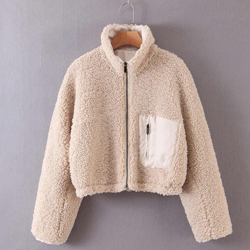 Elina Solid Coats Women Fashion Faux Lamb Fur Short Jackets Women Elegant Zipper Long Sleeve Coats Female Ladies KR