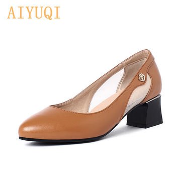 AIYUQI Women Spring Shoes 2020 New Genuine Leather Mid-heel Pointed Toe Hollow Mesh Fashion Summer Shoes Ladies new fashion women high heel shoes comfortable side zipper patent leather for women cute mid calf boots pointed toe free shipping