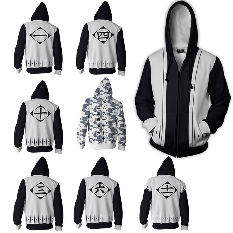 Men And Women Zip Up Hoodies Anime Bleach Hoodie Sweatshirt Ichigo Kurosaki Cosplay Costumes Rukia Harajuku Streetwear
