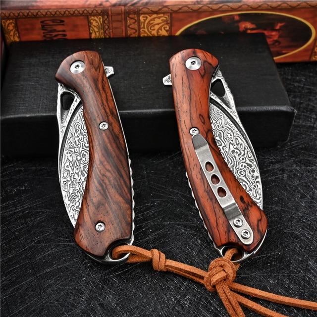 VG10 Damascus Folding Knife Tactical Military With Holster Outdoor Camping Survival Hunting Self Defense Pocket Jackknife Navaja 5