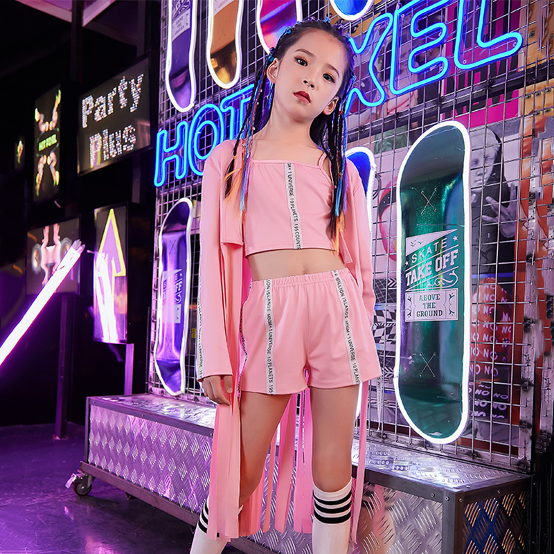 Hip Hop Dance Costumes Kids Fringe Jazz Street Dance Practice Performance Clothing Girls Stage Rave Outfit 3 Pcs Set DC2989