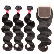 Aliballad ברזילאי גוף גל חבילות עם סגירת 4x4 Inch גבוהה יחס רמי שיער טבעי Weave הארכת 3 חבילות עם סגירה
