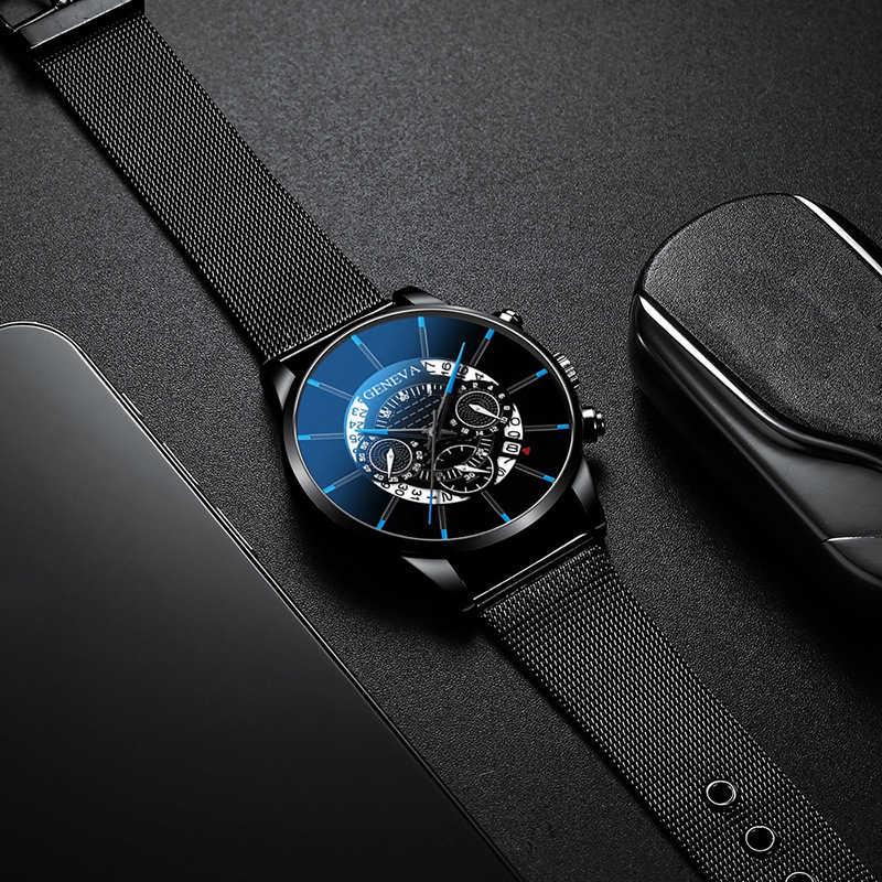2020 นาฬิกาผู้ชายกลวงแฟชั่น Ultra Thin นาฬิกาวันที่ผู้ชายธุรกิจสแตนเลสตาข่ายนาฬิกาควอตซ์ Relogio Masculino