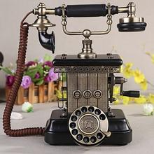 Teléfono antiguo, clásico Vintage con cable teléfono europeo fijo teléfono decorativo giratorio con auriculares colgantes