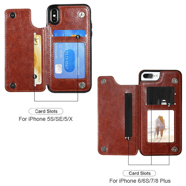 Retro PU Flip Leather Case For iPhone 12 Mini 11 Pro Max XS Multi Card Holder Phone Cases For iPhone X 6 6s 7 8 Plus SE 2 Cover 6