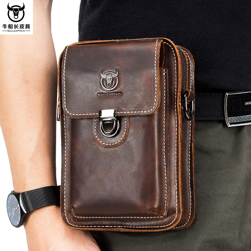 Horse Leather Men Genuine Leather Casual Wear Leather Belt Mobile Phone Waist Bag Full-grain Leather Multi-functional Shoulder M