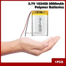 高容量 103450 3.7 v リチウムポリマー電池 2000 mah リチウム po リチウムポリマー MP5 gps bluetooth スピーカー細胞ソーラーランプ