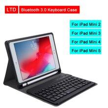 بلوتوث 3.0 اللوحي لوحة المفاتيح حافظة لجهاز ipad Mini 2 3 4 5 7.9 بوصة Mediapad PU جلد الوجه الغطاء الواقي لابل حافظة للآي باد