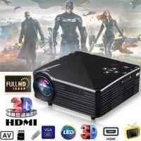 Mini projetor portátil led projetor 1920x1080 pixels usb/av/vga/hdmi/sd multimídia porto plug eua cinema em casa multimídia