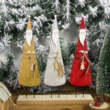 Standing Santa Claus Wooden Figurine Ornament 3D Painting Christmas Home Desktop Decoration Gift