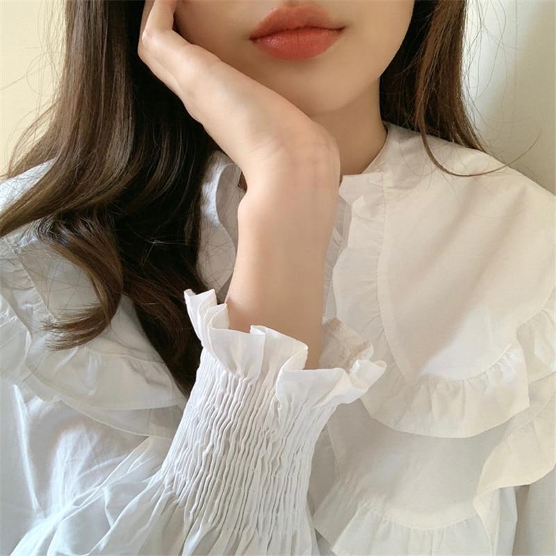 H37f223fc43e14abc9288d6130e788889g - Spring / Autumn Double-Layer Ruffle Collar Long Petal Sleeves Loose Blouse