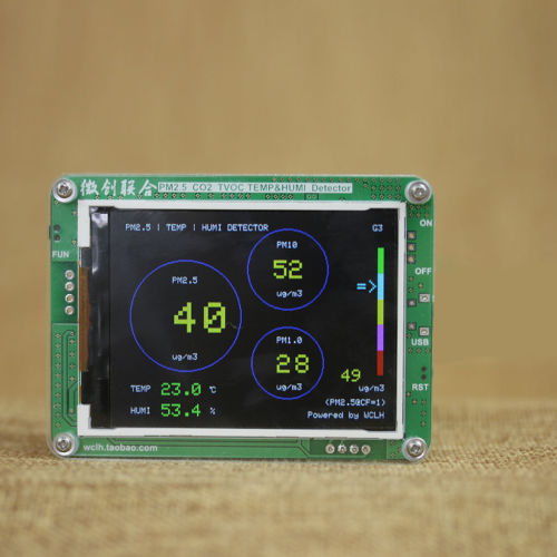 2019 English Version PM1.0 PM2.5 PM10 Detector, TEMP +HUMI TFT LCD, PMS3003