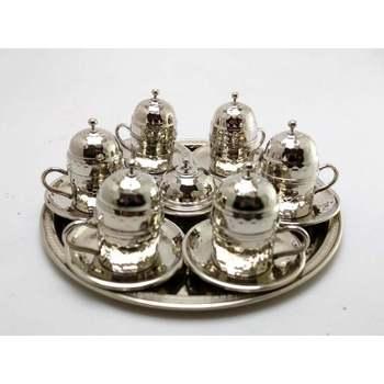 Set de café Espresso turco árabe griego hecho a mano 100 de cobre para 6, juego de servir turco, tazas de café grabadas, juego de tazas de café