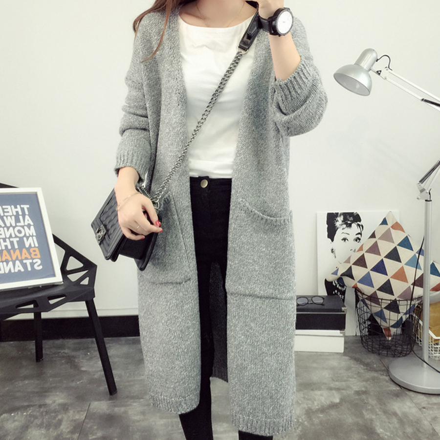 Simple Casual Warm Sweater Women Loose Gray Plus Size Cardigan Feminino Autumn Winter Korean Slim Long Knit Sweater Female