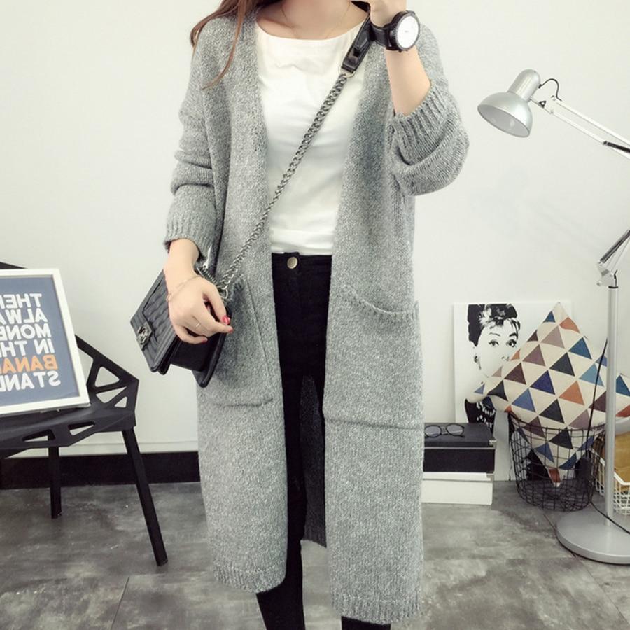 Simple Casual Warm Sweater Women Loose Gray Plus Size Cardigan Feminino Autumn Winter Korean Slim Long Knit Sweater Female