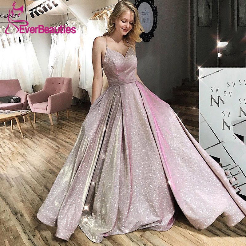Bling Sequin   Evening     Dress   With Pockets Backless Spaghetti Straps Ball Gown Prom Party   Dress   Long 2019 Sweetheart Robe De Soiree