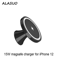 15w magsafe carregador sem fio suporte do telefone carro para iphone 12 magnético sem fio carregador de carro montagem respiradouro ar/pasta