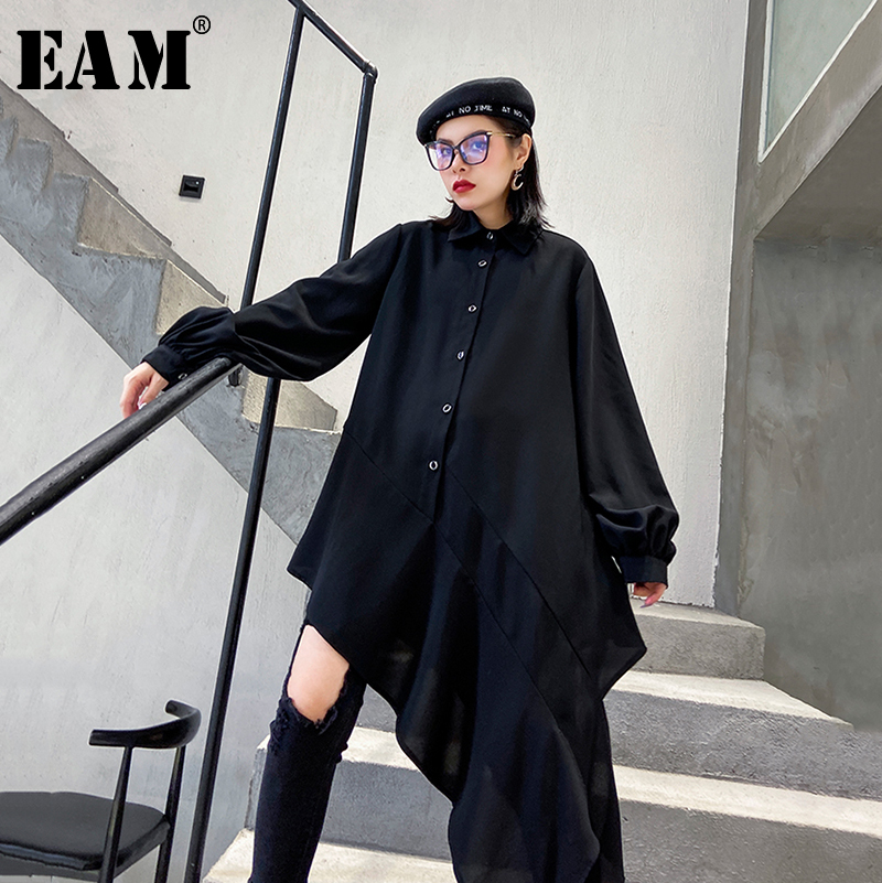 [EAM] Women Black Asymmetrical Chiffon Blouse New Lapel Long Sleeve Loose Fit Shirt Fashion Tide Spring Autumn 2020 1R110