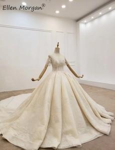 Image 3 - יוקרה ארוך שרוולי כדור שמלות חתונה שמלות Sheer צוואר תחרה פניני חרוזים סעודית אלגנטי עבור כלה 2020
