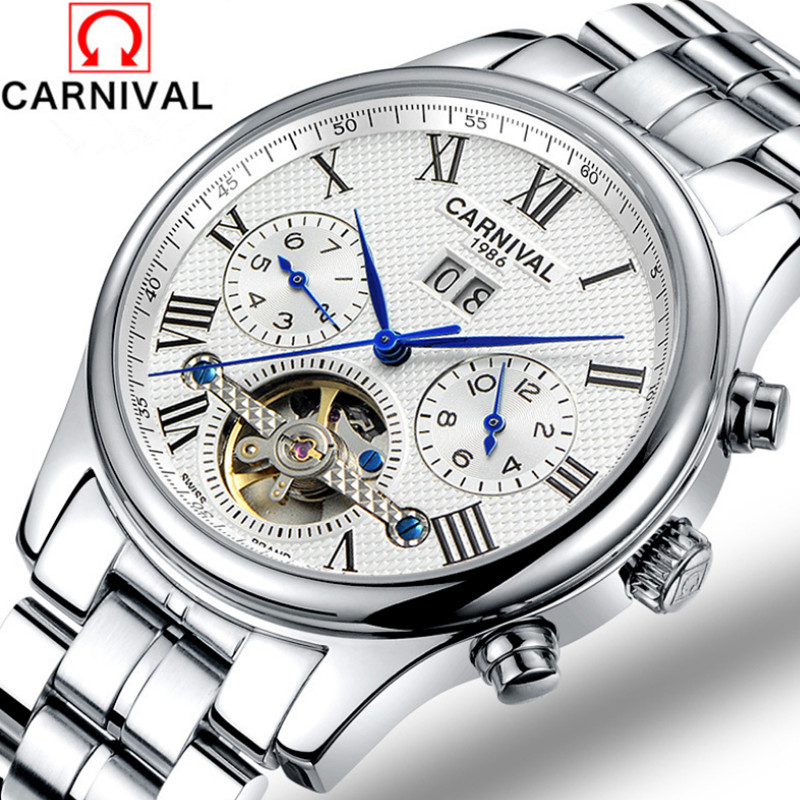 Carnival Brand Businessmen Tourbillon Dress Watches for Men Self-winding Automatic Wristwatch 316L Steel Real Leather Watch 3ATM