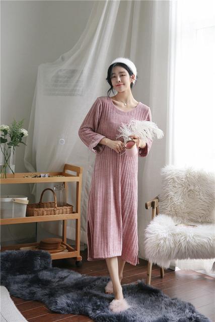 Autumn Winter New Sleepwear Female Sleeping Skirt Long Sleeve Thick Home Suit Warm Plush Sleepwear Loose Extra Long Home Suit